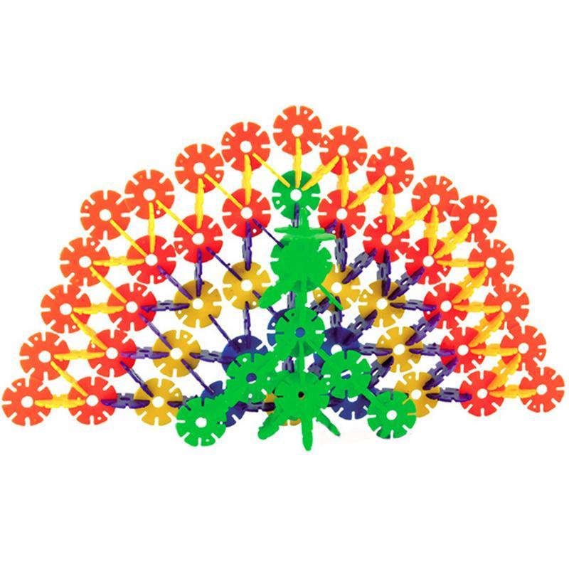 107psc Kleine Verdickt Schneeflocke Geformt Bausteine Mit Welle Kunststoff Puzzle Montage Pädagogisches Spielzeug Für Kinder Kinder