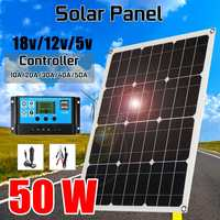 50W 2 USB Solar Panel Solar Cell module + 10/20/30/40/50A Controller for Car Yacht Led Light 12V Battery Boat Outdoor Charger