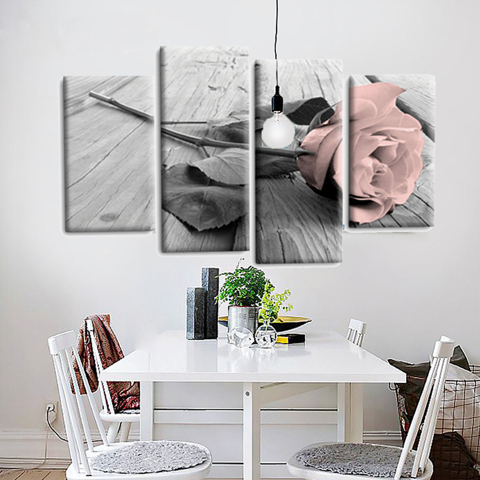 4pcs Pink Grey White Love Rose Floral Canvas Wall Art Picture Prints Set Decor For Living Room Canvas Pictures Wall Decoration Painting Calligraphy Aliexpress
