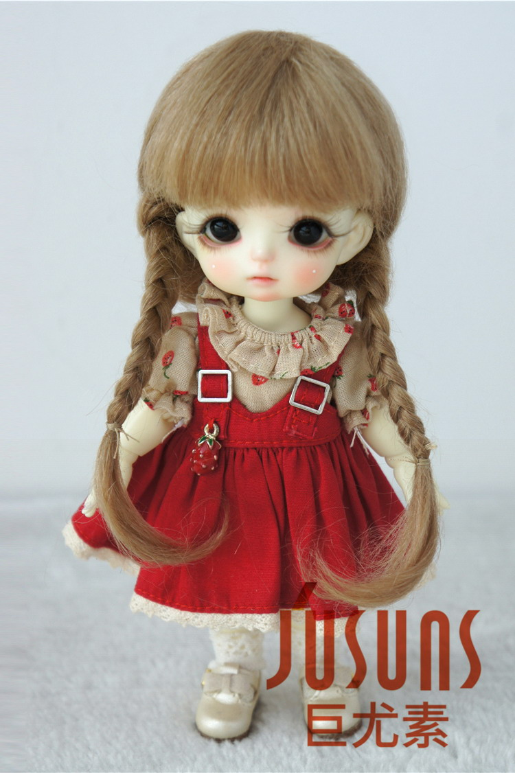 3-4inch Ana Short Braids Mohair Doll Wigs Tiny Size Doll Hair 5 colors