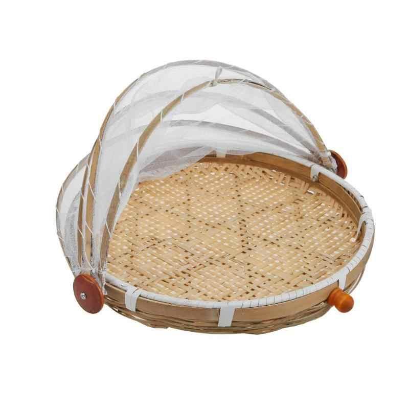 Hand Geweven Bug Proof Mand Stofdicht Picknick Mand Handgemaakte Fruit Groente Brood Cover Rieten Mand met Gaas