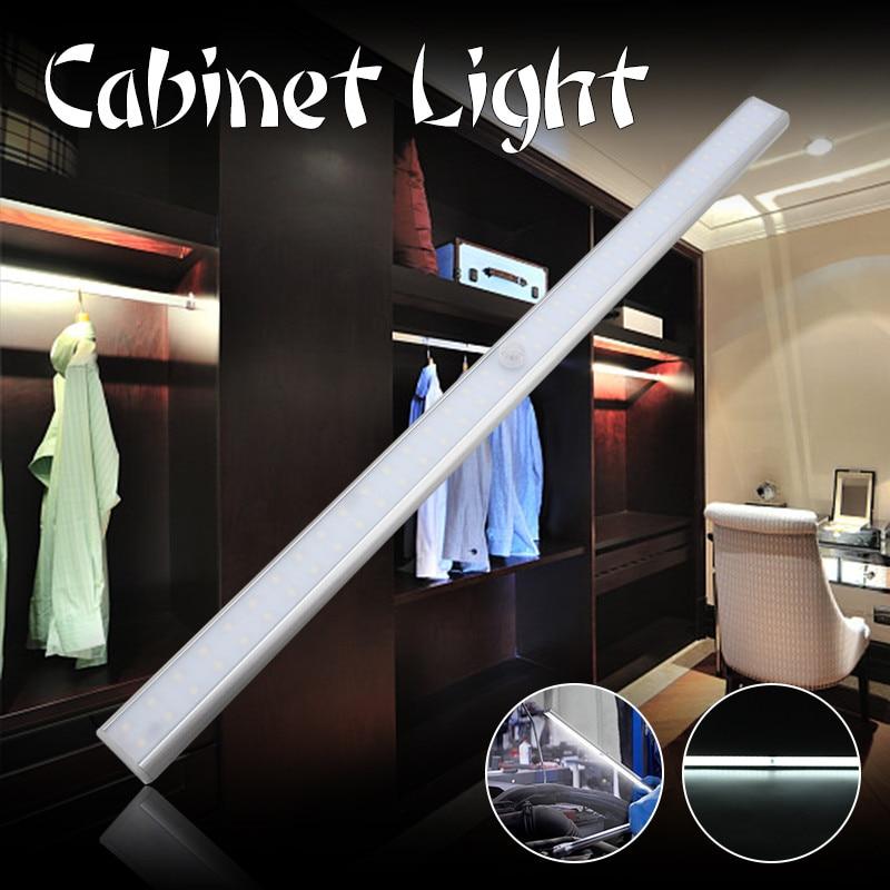 CLAITE Wireless 68 LED Bar Light PIR Motion Sensor Under Cabinet Light USB Rechargeable Night Light Magnetic Closet Wardrobe