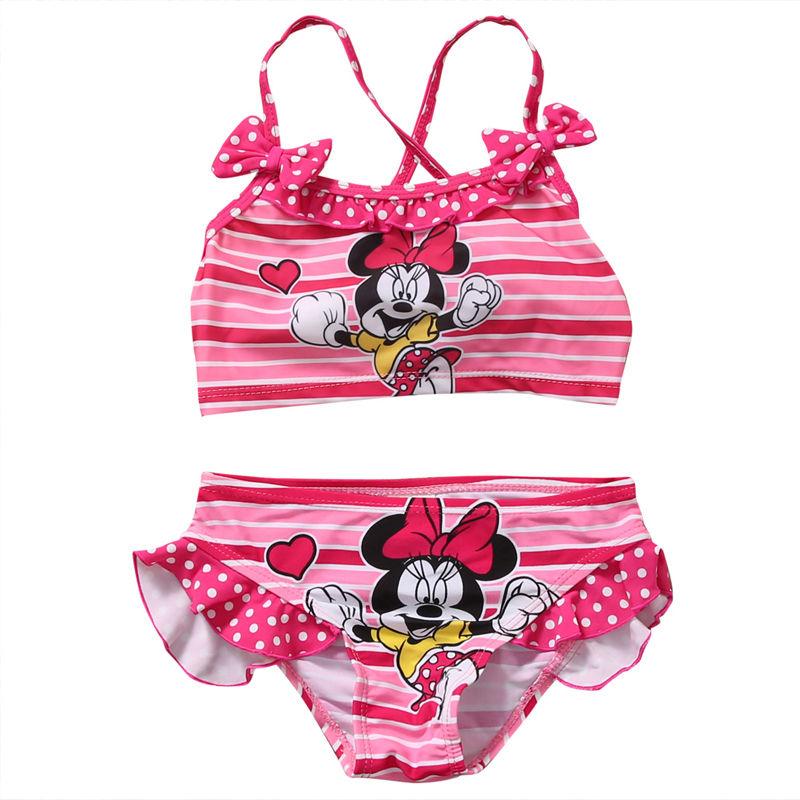 Summer Toddler Baby Girls Swimwear Mickey Minnie Swimwear Bow Striped Swimsuit Bikini Set  Swimsuit Bathing Suit Beachwear