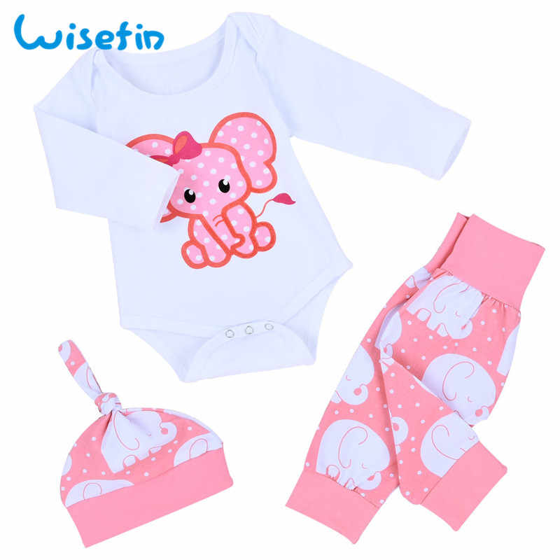Baby Set Girls Newborn Baby Clothes Set Winter Set Baby Girl Clothes Outfits 3Pcs Bodysuit+Pant+Hat Toddler Girl Outfits D35