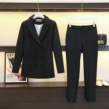 Set female spring and autumn new fashion OL temperament small suit casual double-breasted nine pants two-piece