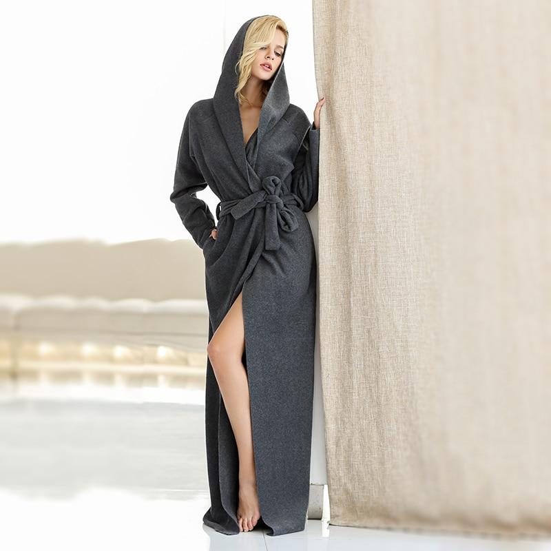 Women Hooded Solid Fleece Sleepwear Wrap Robe Bathrobe Long Sleeve New 02