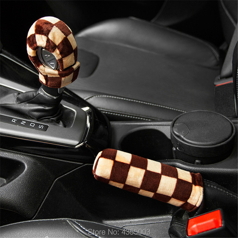 Car Handbrake Grips Car Gear Cover Velvet Leopard Print Gear Shift Knob Cover Hand Brake Cover Sleeve 2 In 1 Set Checkered Flag