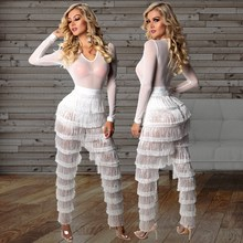 Sexy Women Long Tassel Jumpsuits Solid Deep V Neck Long Sleeve Fringed Romper Elegant Women Transparent Jumpsuit
