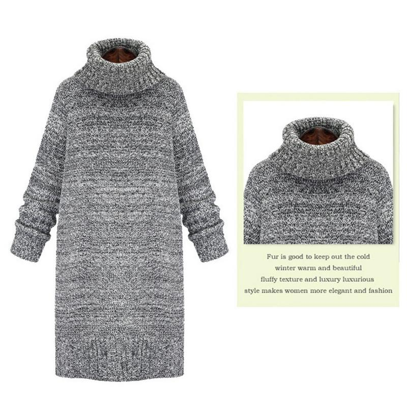 Newly High-collar Thickened Cotton Sweater Women Warm Autumn Winter Warm Solid Color Knitting Sweaters Female Europe America