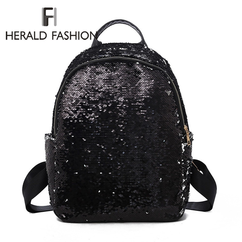 Herald Fashion Shining Sequins Women Backpack Teenage Girls Casual Big Capacity Travel School Bag Bling Female Paillette Bookbag