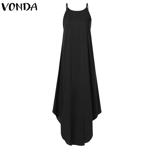 VONDA Women Dress 2019 Summer Sexy Strap Sleeveless Irregular Party Maxi Long Dresses Female Casual Loose Plus Size Vestidos 5
