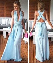 Cheap Long Chiffon Prom Dresses A Line Sexy Plunging V Neck Straps Criss-Cross Back Evening Party Gowns 2019 Formal Party Dress plunging neck lace splicing dress