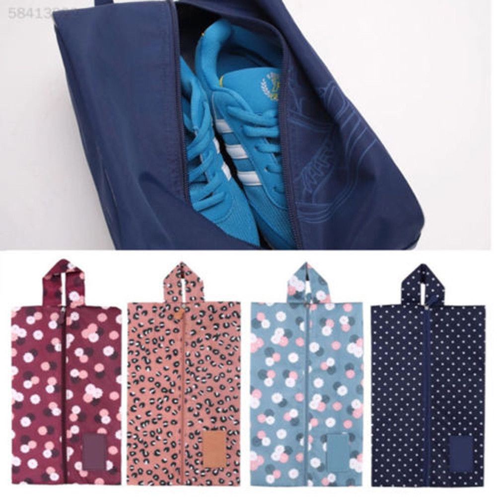 New Convenient Multipattern Waterproof Nylon Portable Travel Shoe Storage Bag Pouch with Zip