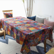 New Table Cover Cotton And Linen Ethnic National Tablecloth Coffee Fabric Boho Style Cloth Modern Rectangular