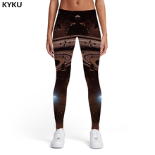 KYKU Brand Galaxy Leggings Women Psychedelic Leggins Black Spandex Space 3d Print Lightning Elastic Womens Pants