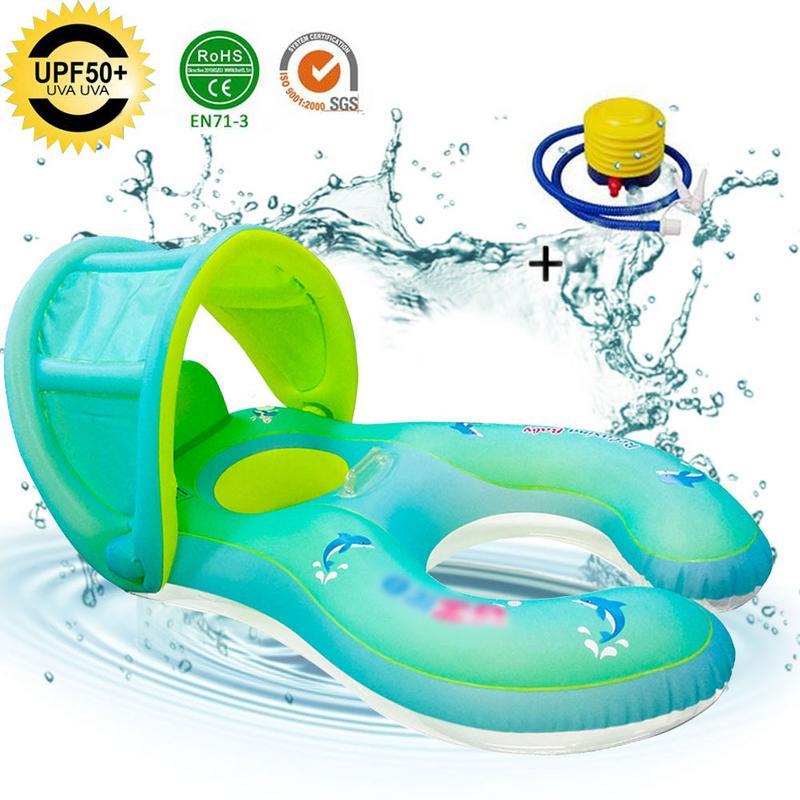 Anneau gonflable cercle de natation mère bébé flotteur Double piscine accessoires roues gonflables nageur cercles