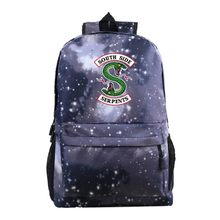 Cartoon South Side Serpents Riverdale 3 Tyle Schoolbag Laptop Travel Backpack Men Sac a Dos Book Bag Mochila Mujer(China)