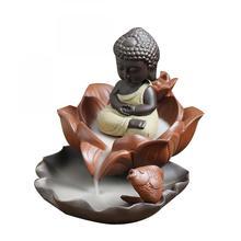 Ceramic Backflow Incense Burner Small Buddha Smoke Waterfall Stick Holder Decorative Crafts Home Decor