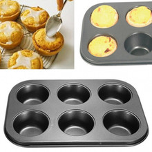 6 Cups Baking Dish Mold Muffin Cupcake Baking Pan Round Non Stick Carbon Steel Bakeware Microwave Cake Cookie Mold Pan Bake Mold