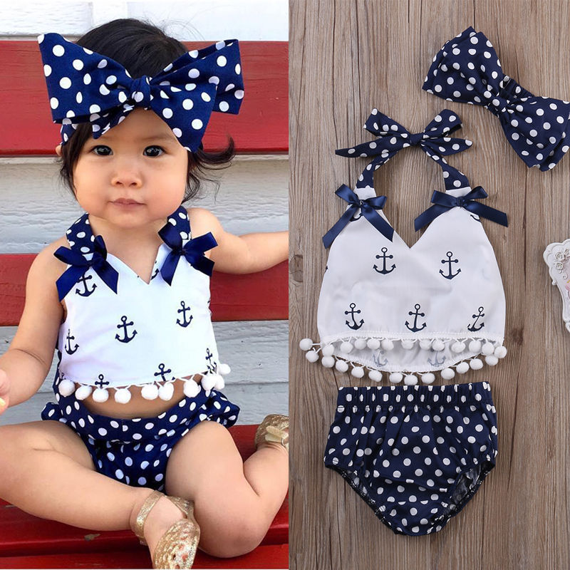 2019 Newest Hot Newborn Infant Baby Girl Clothes Anchor Tops Polka Dots Briefs Outfits Set Sunsuit 0 24M in Children 39 s Two Piece Suits from Sports amp Entertainment