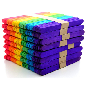 400PCS Rainbow color Artesanato Em Madeira Palitos de picolé para DIY Arte Artesanato 11.4 centímetros