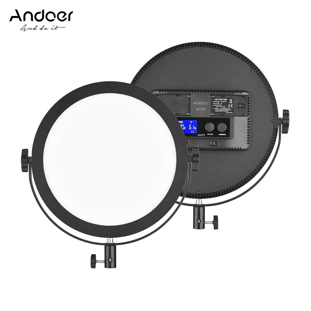 Andoer SO 30T Studio Photo LED Video Light 3200K 5600K Photography Ring Light Lamp Stepless Diammable