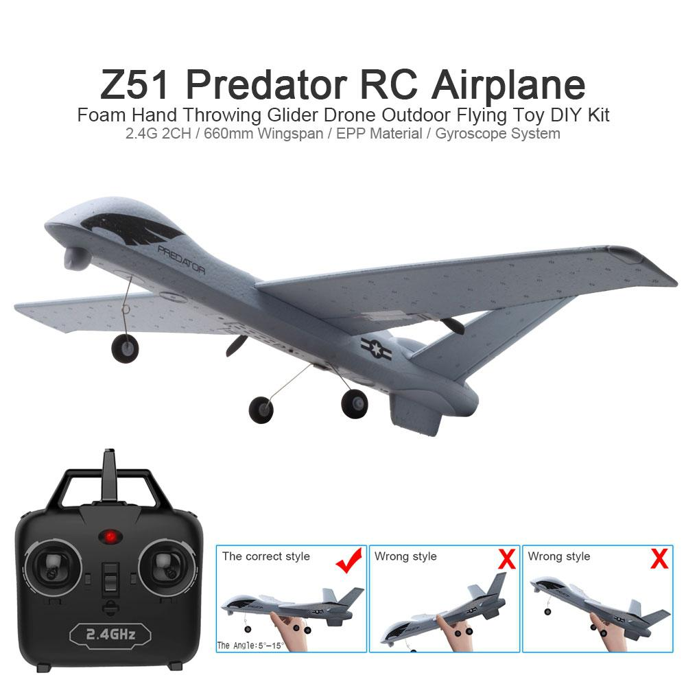 RC Airplane Plane Z51 20 Minutes Fligt Time Gliders 2.4G Flying Model with LED Hand Throwing Wingspan Foam Plan Toys Kids Gifts image