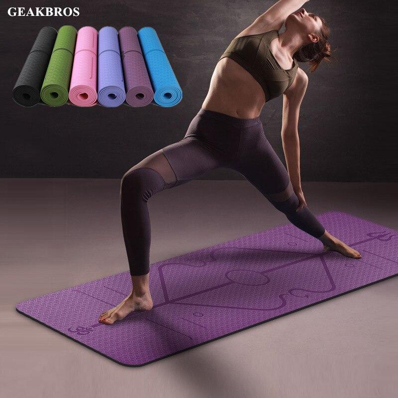 6MM TPE Yoga Mat With Position Line Non Slip Carpet Mat 183cmX61cm High Density For Beginner Environmental Fitness Gymnastic Mat