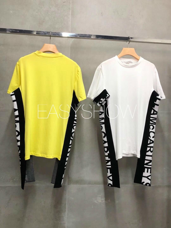 Y036 Estate 2019 delle donne lato monogrammed nastro impreziosito breve maniche lunghe T Shirt intorno ad allentato casuale camicetta-in Magliette da Abbigliamento da donna su  Gruppo 1