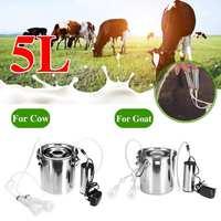 5L Electric Milking Machine Stainless Steel Cow Goat Sheep Bucket Suction Milker Vacuum Pump Household Milking Machines