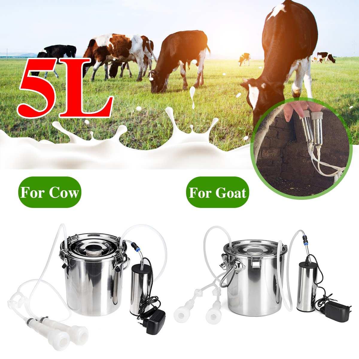 5L en Acier Inoxydable branchant la Machine /à traire /électrique argent/ée avec Valve de contr/ôle Conception /à Double Tuyau Pompe silencieuse Durable Vaches EU Plug Kit de traite