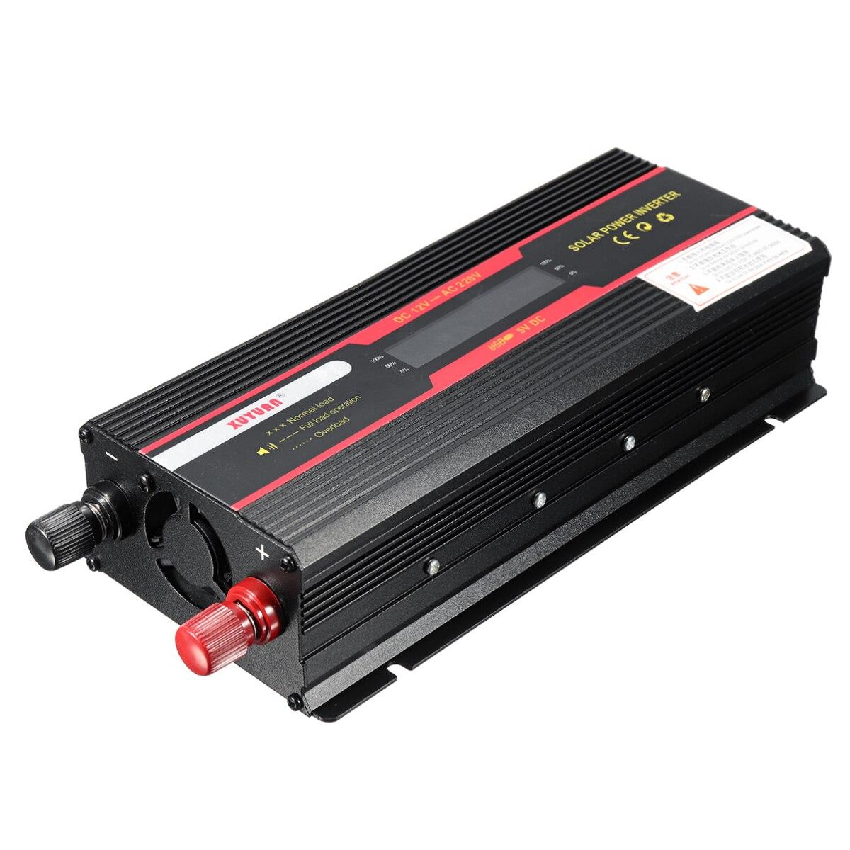 Onduleur de voiture 12 V 220 V 6000 W Pe ak convertisseur de tension convertisseur de tension transformateur 12 V/24 V à 110 V/220 V Inversor + écran LCD - 4