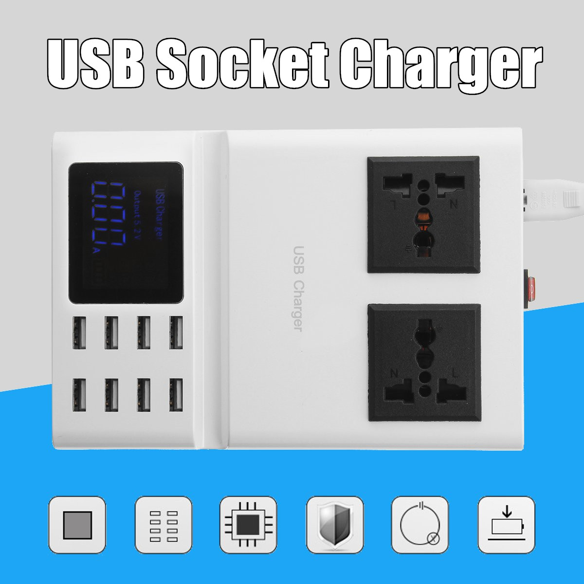 8.2A 8 ports USB chargeur prise rapide voyage mur chargeur Station LCD affichage