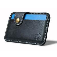 Retro skórzane męskie posiadacze kart bankowych dla ludzi biznesu solidne czarne cienkie małe portfele podróżne Hasp karty ochronne na karty kredytowe