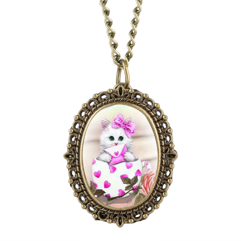 Lovely Pink Kitty Patch Pocket Watch For Girl Quartz Pocket Watch Analog Pendant Clock Gift For Pocket Watch With Necklace