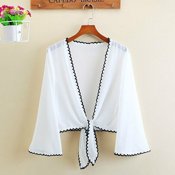 Summer Chiffon Short Blouse Nine Quarter Sleeve Kimono Cardigan Blusas Open Stitch Casual Loose Sunscreen Shirts Tops Plus Size plus size arab embroidered open front blouse