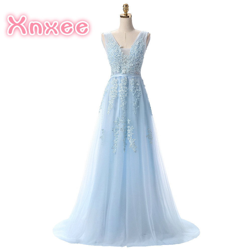 Hot Sell Sweet Light Blue Lace V neck Lacing Long Dress The Bride Party Sexy Backless