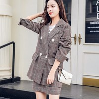 Fashion 2018 Autumn New Plaid Two Piece Sets Vintage Double Breasted Blazer And Mini Skirt Women Casual Skirt Outfits
