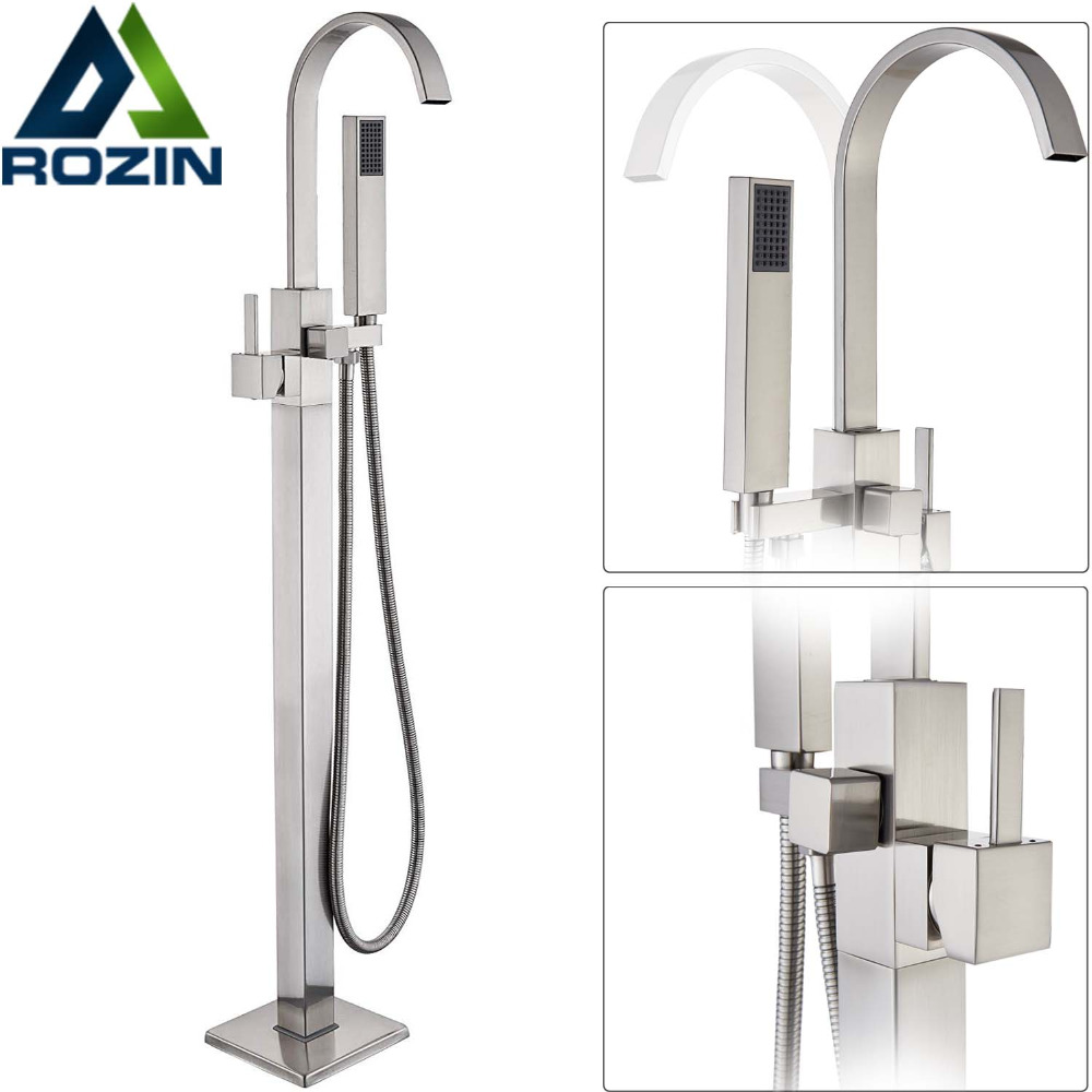 Waterfall Spout Floor Mounted Bathtub Faucet with Hand Shower Brushed Nickel Free Standing Bath Tub Mixer