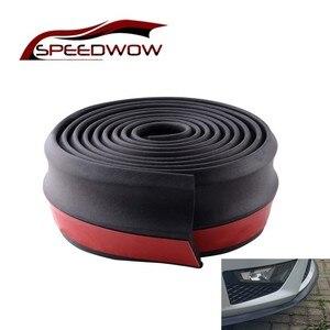 SPEEDWOW Universal Car Front Rear Side Bumper Lip Splitter Rubber Protector Body Spoiler Valance Chin Rubber Car Bumper Lip 2.5M