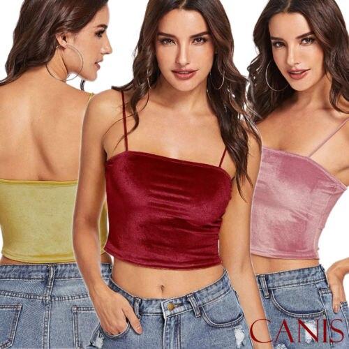 059925eb7e7724 Women Summer Sleeveless Crop Tank Velvet Tops Vest Shirt Blouse Button  Beach Cami Tops