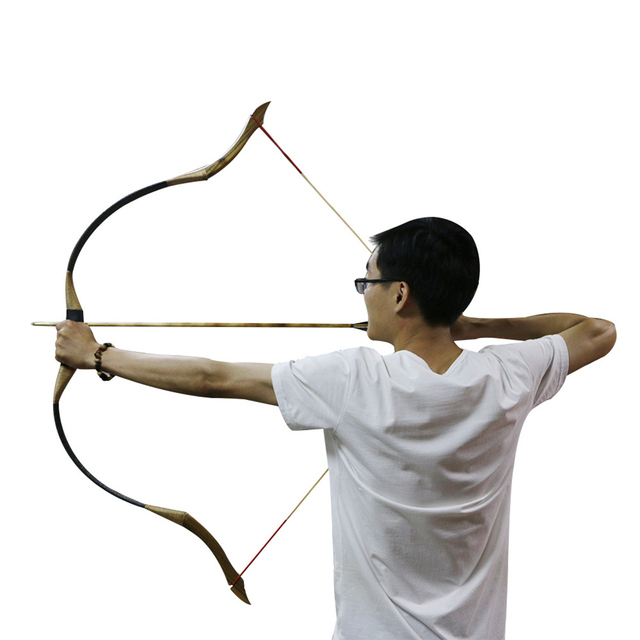 50lbs Traditional Archery Hunting Handmade brown leather Outdoor Shooting Recurve Bow Mongolian Horse Longbow Bowstrings