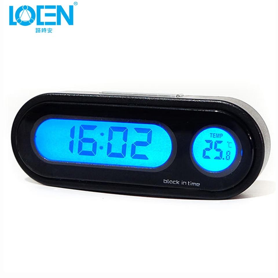 220c6066db8 LOEN Auto Relógio Digital Termômetro Higrômetro Relógio Automóvel Carro  Automotivo Decoração Ornamento Mini Relógio No Carro
