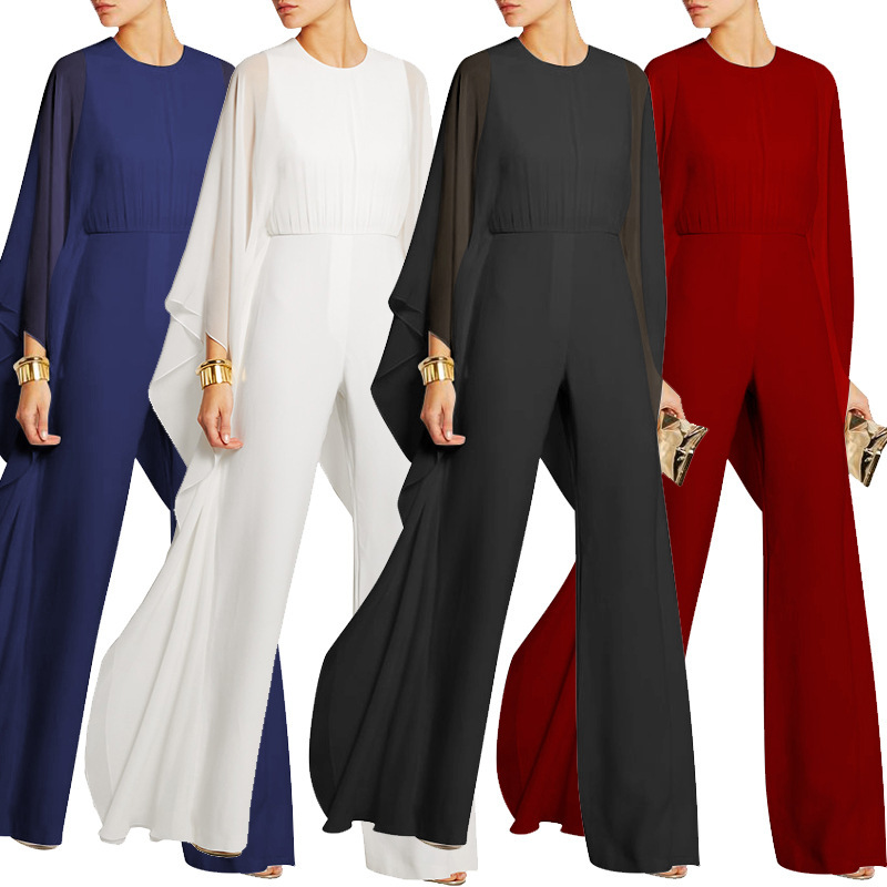 Plus Size Elegant Women Jumpsuit 2019 New Fashion Sheerness Black Chiffon Siamese Trousers Female Red White Business Jumpsuits