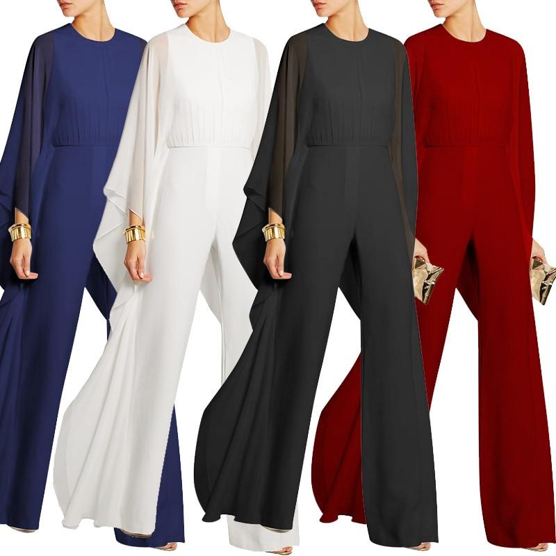 Gehoorzaam Plus Size Elegante Vrouwen Jumpsuit 2019 Nieuwe Mode Sheerness Zwarte Chiffon Siamese Broek Vrouwelijke Rood Wit Business Jumpsuits Om Een Ongewoon Uiterlijk Zeker Te Stellen