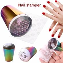 Rainbow Handle Nail Stamper Shining Holographic Head Clear Silicone for Art Stamping Plate