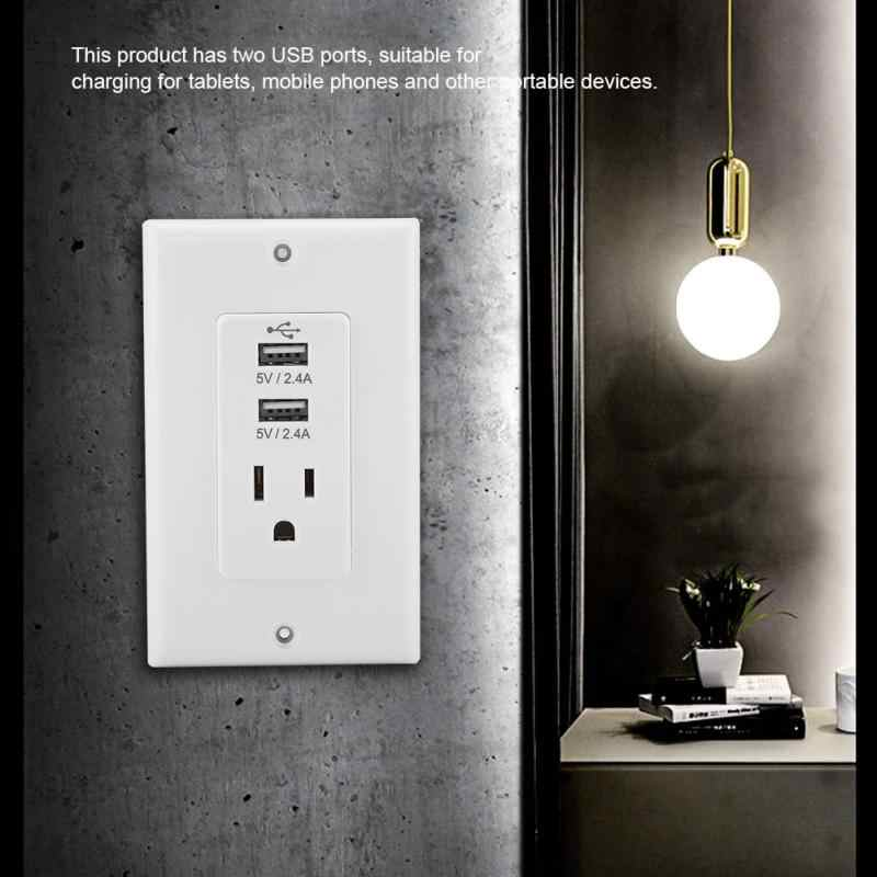 2.4A 110 V الولايات المتحدة التوصيل 2 USB AC مقبس الحائط شاحن يو اس بي محول الشحن للهاتف المحمول
