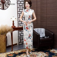 2019 Spring Summer Printing Cheongsam Long Dresses Women Traditional Chinese Clothing Qi Pao Orientale Similar Silk Dress Gown