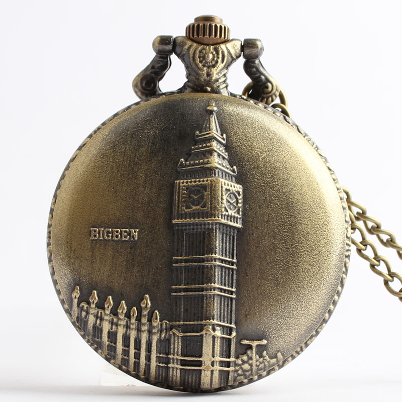 Pocket & Fob Watches Bronze London Big  Ben Quarzt Pocket Watch with Neckace Pendant for Men/women Gift