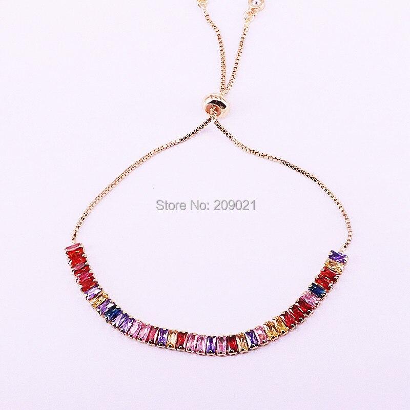 Image 3 - 10 шт., золотой, розовое золото, разноцветный, кубический  цирконий, цепочка для тенниса, браслет, модные, великолепные, женские,  для девочек, регулируемые ювелирные изделияЦепочки и браслеты   -